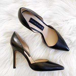 Steven Steve Madden Black Leather Stiletto Heels